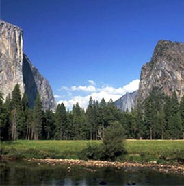 Yosemite National Park - River and multiple mountains